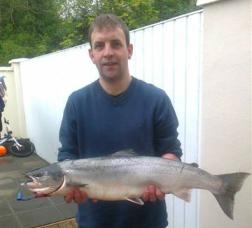 Declan Scanlon salmon fishing on the river moy in Swinford