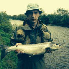 Diarmuid Mcloughlin catches a 10lb salmon in the river Moy.