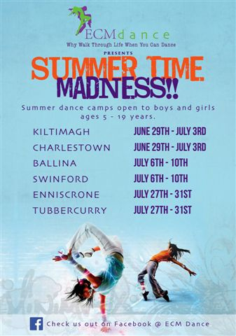 ECM Dance are a dance school based in Swinford, run by local girl Charlotte Moore and Ballina native Emma Coleman. Visit Swinford.ie for more info on their 2015 Summer Dance Camps.