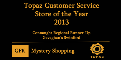 Gavigan's Topaz Garage Swinford wins Customer Service Award