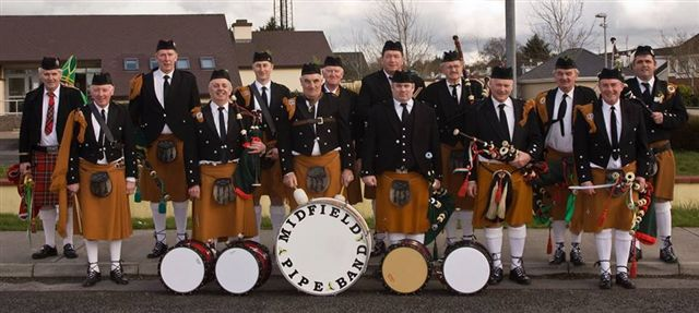 The Midfield Pipe Band will give a recital after last Mass on Sunday 10th May and then march downtown and play on Main Street. Visit Swinford.ie for mote details.